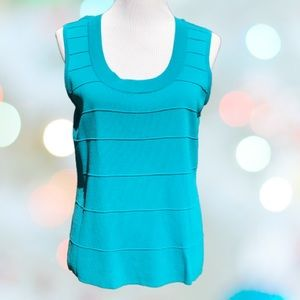 Turquoise Stretch tank Top Textured Sleeveless XL